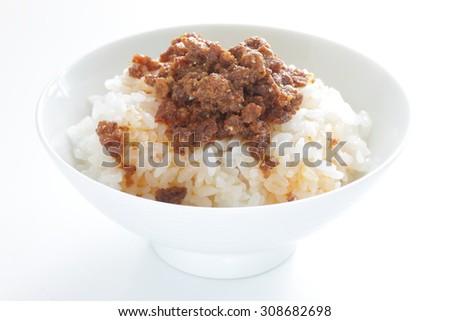 Taiwanese food, Lu Rou Fan Braised pork on rice  - stock photo