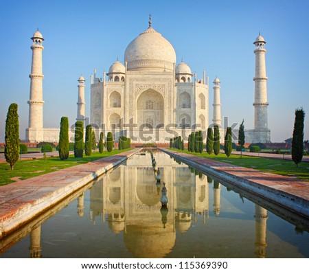 Taj mahal , A famous historical monument , India - stock photo