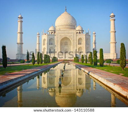 Taj mahal , A famous historical monument , India - stock photo