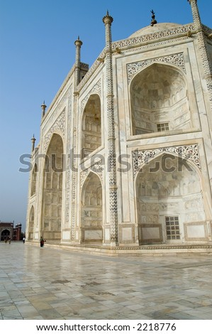 Taj Mahal, Agra, India. View on the mausoleum from the East.The picture has been taken early in the morning.