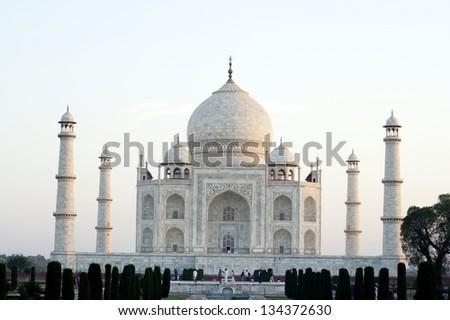 Taj Mahal, Agra. Taj Mahal is a mausoleum built by the Mughal emperor Shah Jahan for his wife Mumtaz Mahal. Taj Mahal is one of the seven wonders of the world. - stock photo