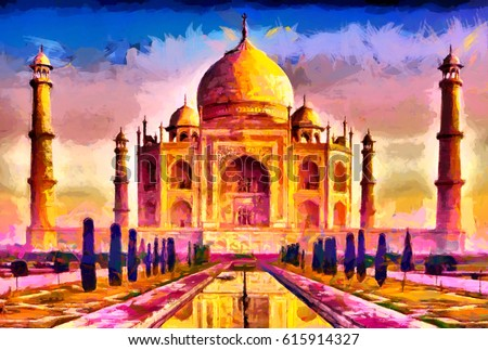 Taj Mahal Colorful Yellow Purple Oil Painting