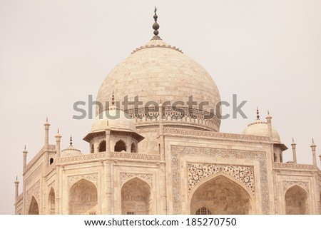 Taj Mahal dome love story building - stock photo