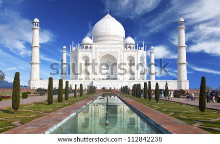 Taj mahal ,Historical monument in India - stock photo
