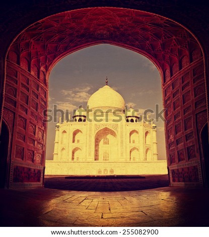 Taj Mahal in Agra, India.Vintage painting effect - stock photo