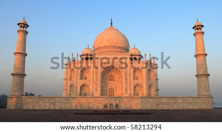 Taj Mahal in morning light and cloudless. No people. - stock photo