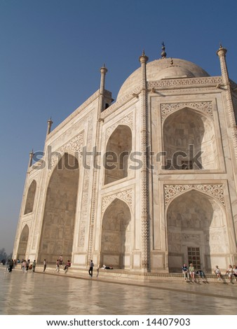 Taj Mahal, India - March 08: A mausoleum located in Agra, India, that was built under Emperor Shah Jahan in memory of his favorite wife. In 1983, the Taj Mahal became a UNESCO World Heritage Site