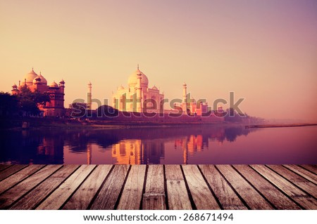 Taj Mahal India Seven Wonders Travel Destination Concept - stock photo