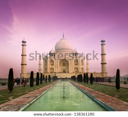 Taj Mahal on sunset, Indian Symbol - India travel background. Agra, Uttar Pradesh, India - stock photo