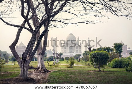 Taj Mahal one of the wonder of the world view from Mehtab Bagh garden with