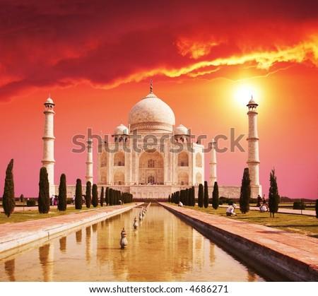 Taj Mahal palace in India on sunrise - stock photo