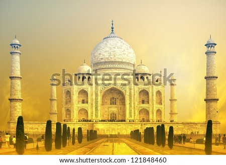 Taj Mahal Sunset, India - stock photo