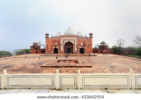 Taj Mahal Temple, small, Agra, India - stock photo