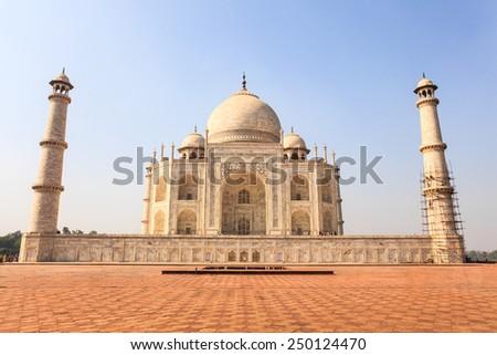 Taj Mahal, the white marble mausoleum in Agra, India - stock photo