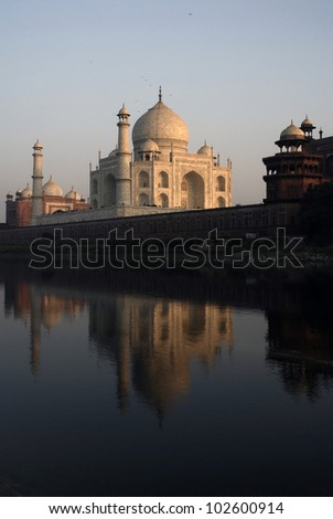 Taj Mahal view from back - stock photo
