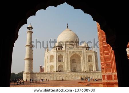 Taj Mahal with silhouette frame, India - stock photo