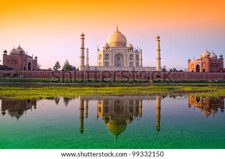 TAJ mahal with tri color flag, india - stock photo