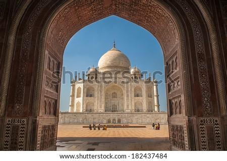 Taj mahal Wonderful architecture at Agra india - stock photo