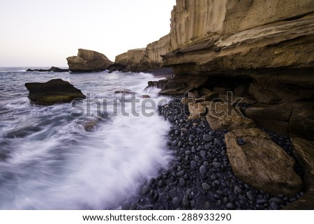 Tajao beach, South Tenerife, Canary islands, Spain - stock photo