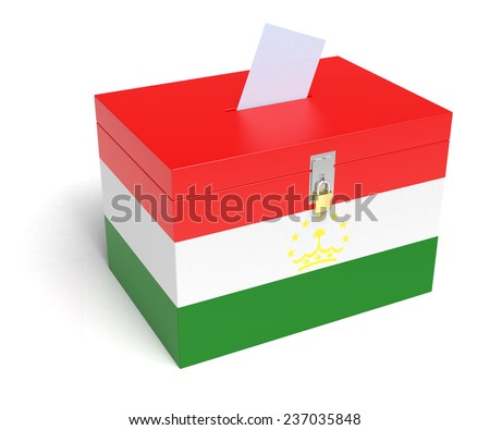 Tajik flag ballot box isolated white background 3d rendering
