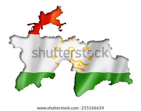 Tajikistan flag map, three dimensional render, isolated on white - stock photo