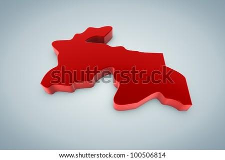 Tajikistan Map - stock photo
