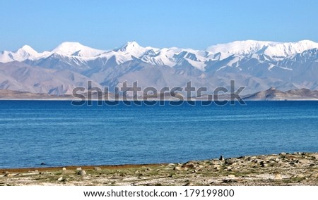 Tajikistan Upper Pamir mountain with Peak Lenin - stock photo
