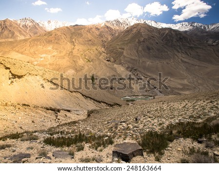 Tajikistan. View from the Pamir Highway on the river Panj and the Afghanistan mountains.