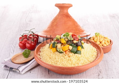 tajine with couscous - stock photo