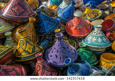 Tajines in the market, Morocco - stock photo