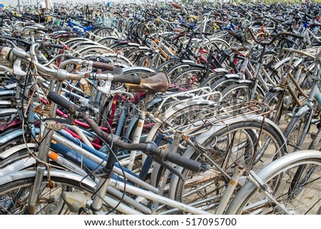 TAK, THAILAND - NOVEMBER 9,2016 : Used bicycles from Japan in Mae Sot market at Thailand-Myanmar border.