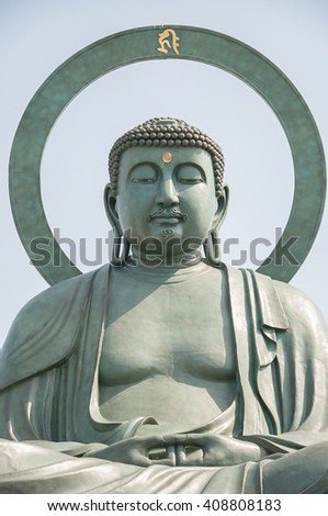 Takaoka, Japan - May 13, 2013  Daibutsu, one of the three Great Buddha of Japan