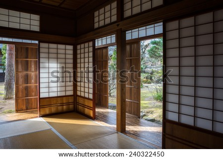 TAKAYAMA, JAPAN - DECEMBER 03, 2014: View of Takayama Jinya house shows the rooms and gardens. It is the home of the governor of Hida province build in 1692, is the oldest surviving house in Japan. - stock photo