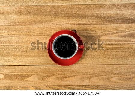 morning coffee cup wooden background stock photo 222598810