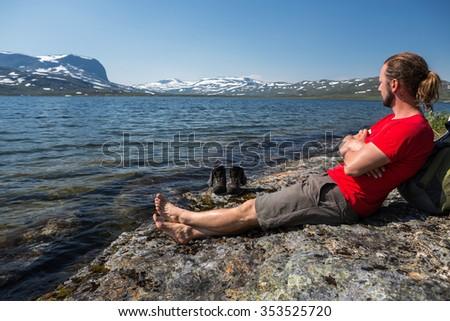 Take a break on a Mountain Lake  - stock photo