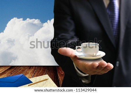 Take a break with hot coffee  from boss - stock photo