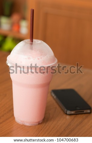 take a break with strawberries milk shake, relax time