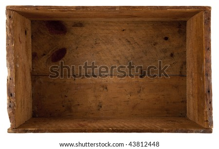 take a look inside the really old wooden box, isolated on white - stock photo