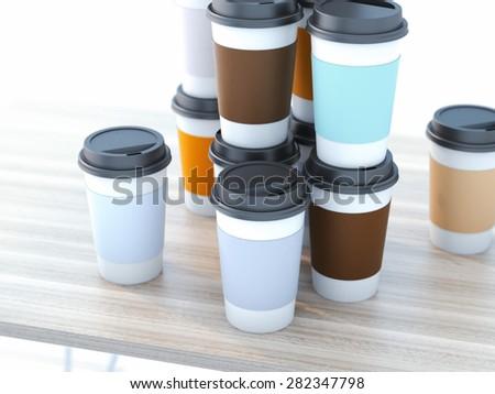Take away coffee cups - stock photo