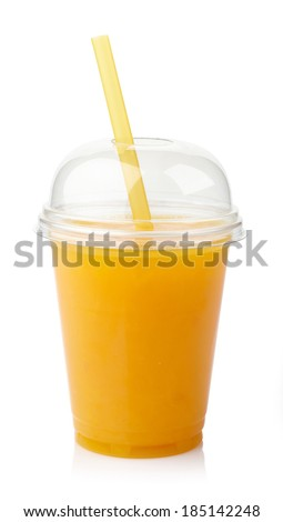 Take away glass of fresh orange juice isolated on white background - stock photo