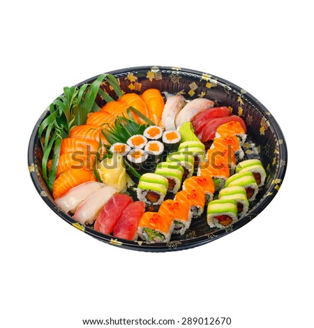take away selection of fresh sushi express on plastic tray