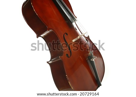 Take closer look at a Cello on white background