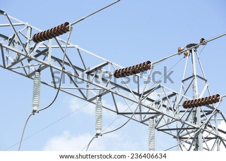 Take of steel structure with tension and sustension insulator - stock photo