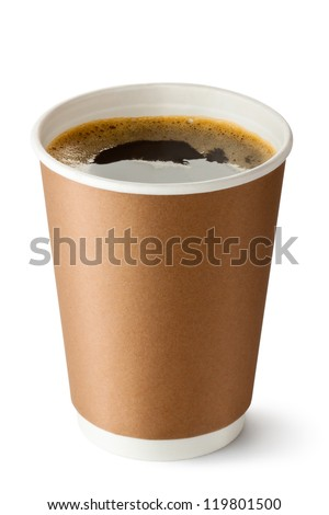 Take-out coffee in opened thermo cup. Isolated on a white. - stock photo