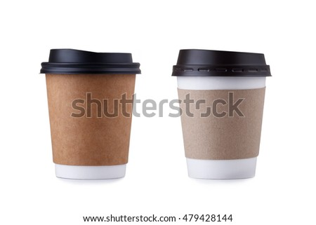 Take-out coffee with cup holder isolated on a white background