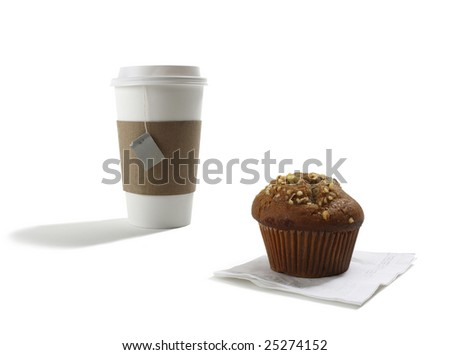 Take out Tea Cup and Muffin