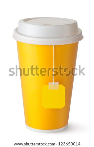 Take-out teacup with teabag. Isolated on a white. - stock photo