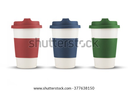 Take out thermo cups  silicone lid isolated with shadows on white background - stock photo