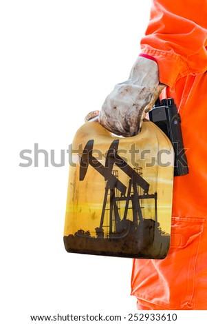 Take sampling crude oil at storage tank. - stock photo