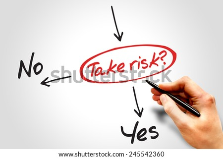 Take the RISK or not decide diagram business concept  - stock photo